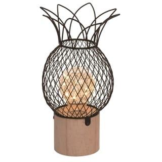 Transpac Metal 9 in. Bronze Spring LED Pineapple Lamp