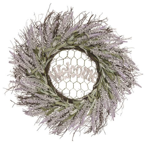 Transpac Wood 22 in. Multicolor Spring Lavendar Welcome Chicken Wire Wreath