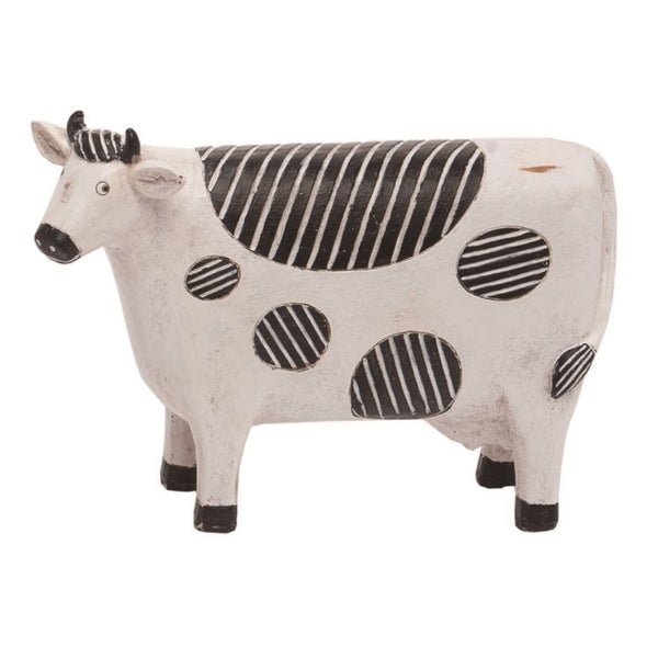 Transpac Resin 9 in. White Spring Pop Art Cow Farm Figurine