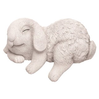 Transpac Resin 8 in. White Easter Sleeping Bunny Shelf Sitter Figurine