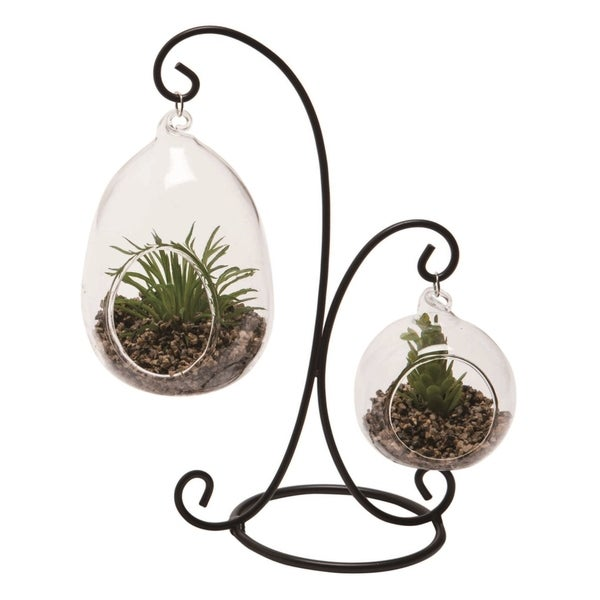 Transpac Glass 8 in. Clear Spring Hanging Succulent Tabletop Display