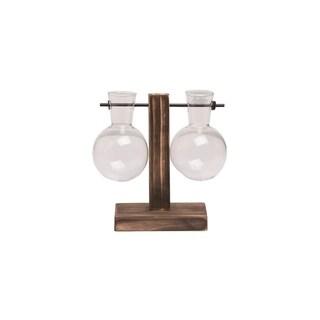 Transpac Wood 6 in. Brown Spring Double Hanging Round Vase Display