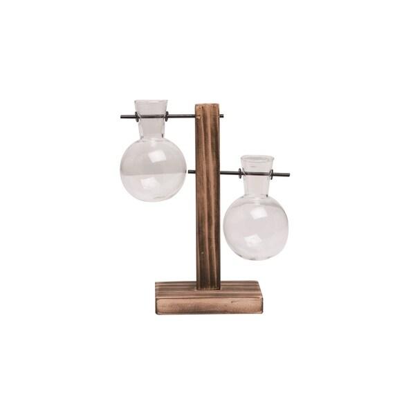 Transpac Wood 8 in. Brown Spring Double Hanging Globe Vase Display