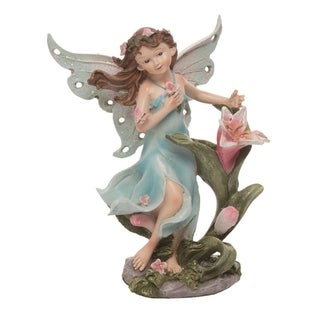 Transpac Resin 7 in. Blue Spring Fairy with Flower Figurine