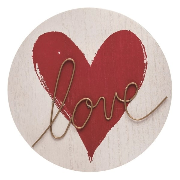 Transpac Wood 10 in. Red Valentines Day Love Script Word Décor