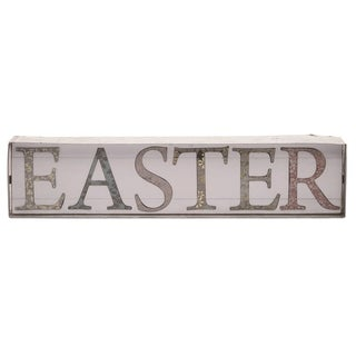 Transpac Wood 16 in. White Easter Easter Word Block Décor