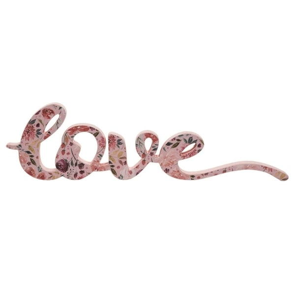 Transpac Wood 16 in. Multicolor Spring Love Script Word Block Décor