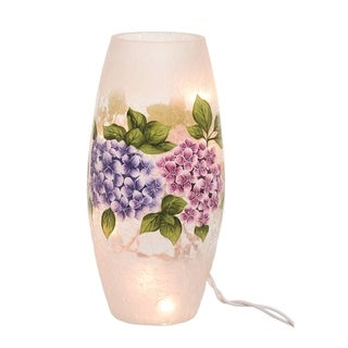 Transpac Glass 9 in. Multicolor Spring Crackled Hydrangea LED Vase with Plug