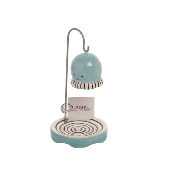 Transpac Dolomite 8 in. Blue Spring Hanging Jellyfish Plant Keeper with Photo Holder