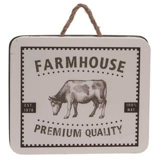 Transpac Metal 13 in. White Spring Enamel Farmhouse Sign with Hanger