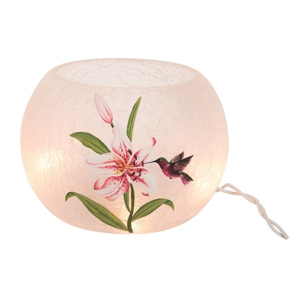 Transpac Glass 6 in. Multicolor Spring Crackled Round LED Hummingbird Vase with Cord