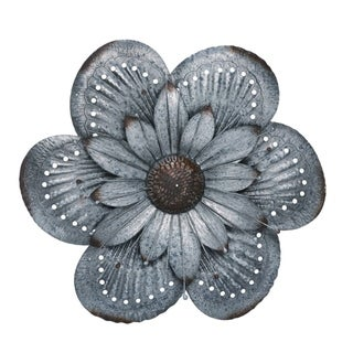 Transpac Metal 20 in. Silver Spring Rustic Dimensional Flower Wall Décor