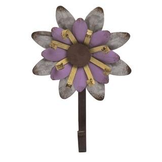 Transpac Metal 9 in. Purple Spring Garden Flower Hook