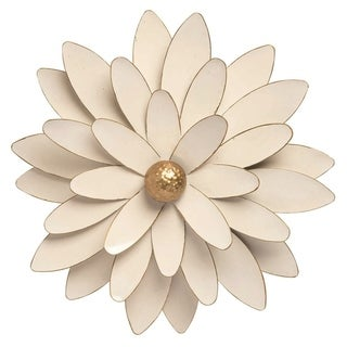 Transpac Metal 16 in. White Spring Enamel Flower Wall Décor