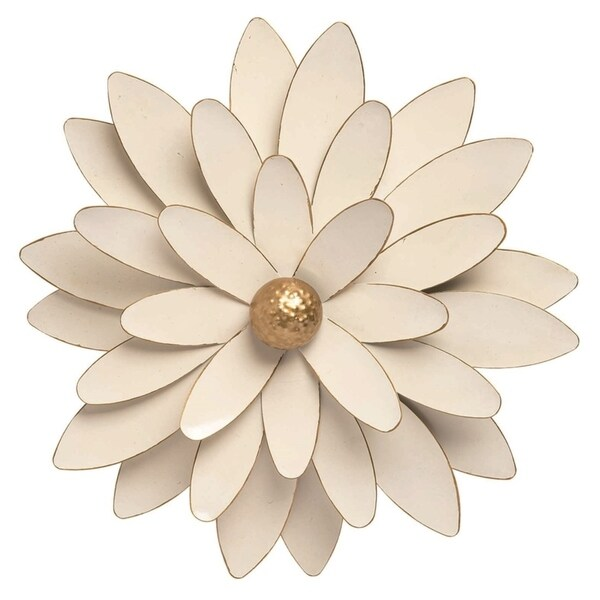 Transpac Metal 16 in. White Spring Enamel Flower Wall Décor