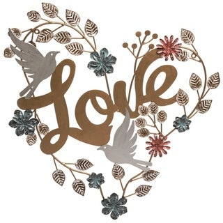 Transpac Metal 23 in. Bronze Spring Love and Heart Wall Sign