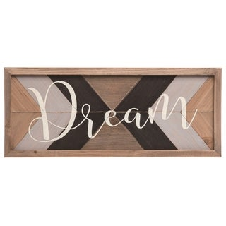 Transpac Wood 19 in. Multicolor Spring Dream Framed Rustic Pattern Wall Décor
