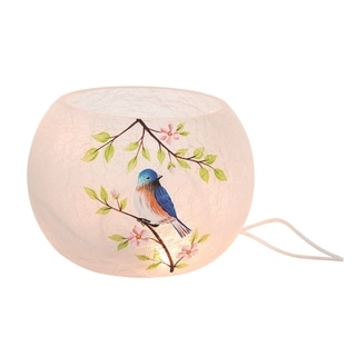 Transpac Glass 6 in. Multicolor Spring Crackled Round LED Bluebird Vase witrh Cord