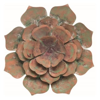 Transpac Metal 9 in. Green Spring Cactus Flower Wall Décor