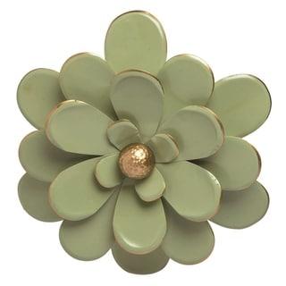 Transpac Metal 16 in. Green Spring Enamel Flower Wall Décor