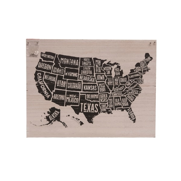Transpac Wood 20 in. Multicolor Spring Travel Map USA with Pins