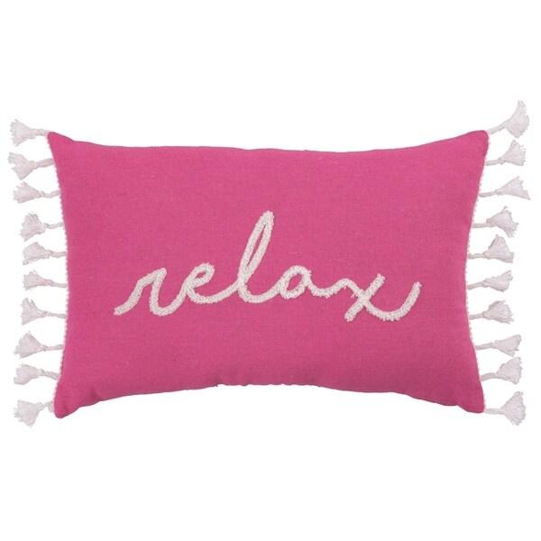 Transpac Fabric 15 in. Pink Spring Lumbar Relax Color Block Pillow