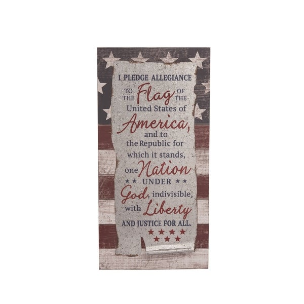 Transpac Wood 24 in. Multicolor 4th of July Pledge of Allegiance Wall Décor