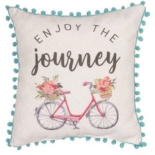 Transpac Fabric 14 in. Multicolor Spring Journey Pillow with Pom Pom Accents