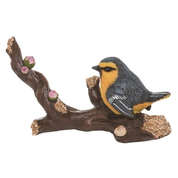 Transpac Resin 7 in. Brown Spring Yellow Belly Bird Figurine