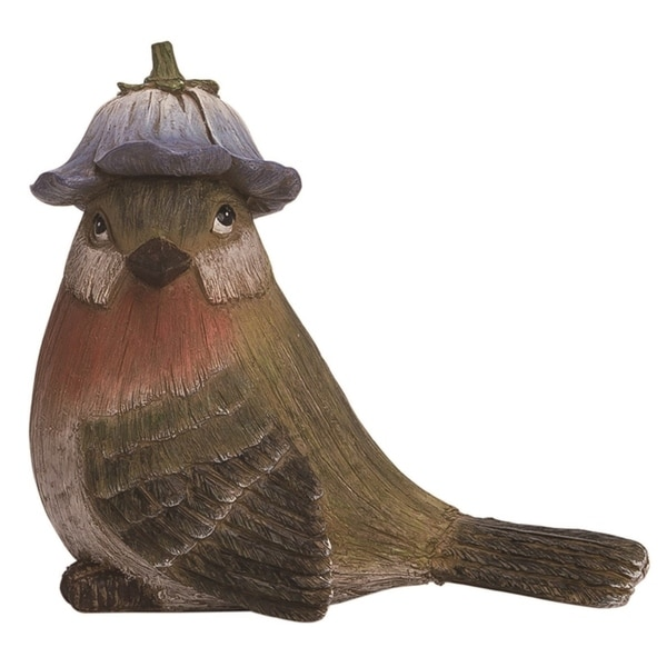 Transpac Resin 8 in. Multicolor Spring Bird with Flower Hat Figurine