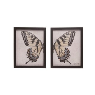 Transpac Wood 13 in. Multicolor Spring Split Butterfly Wall Décor Set of 2