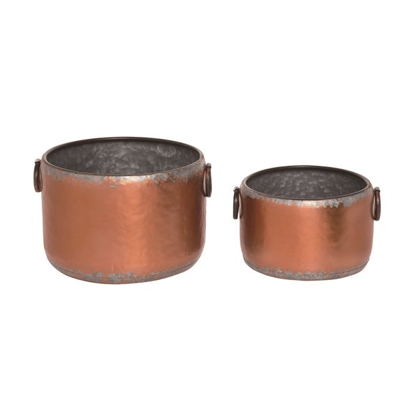 Transpac Metal 12 in. Bronze Spring Rustic Container Set of 2
