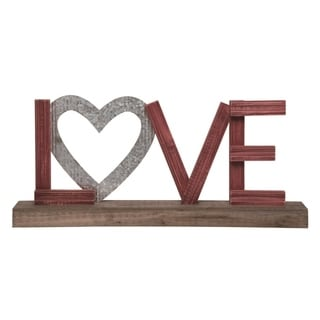 Transpac  23 in. Brown Valentines Day Love Tabletop Word Block Décor