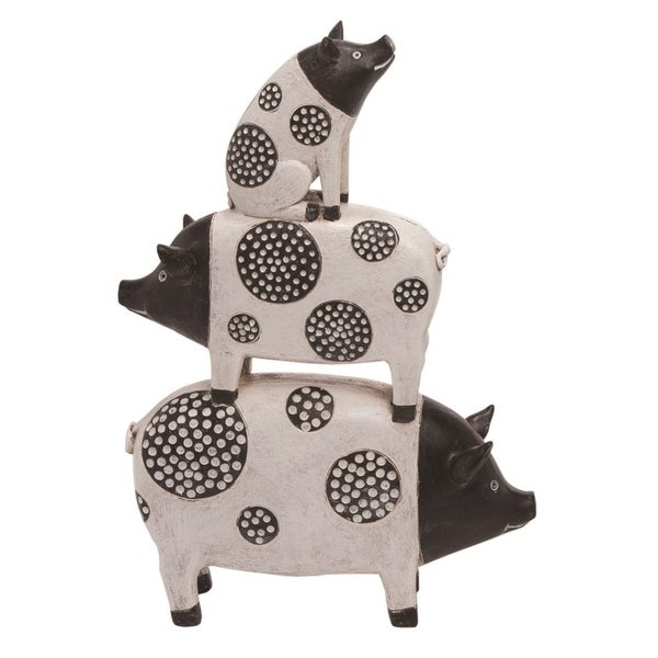 Transpac Resin 13 in. White Spring Stacked Pop Art Pigs Statuette