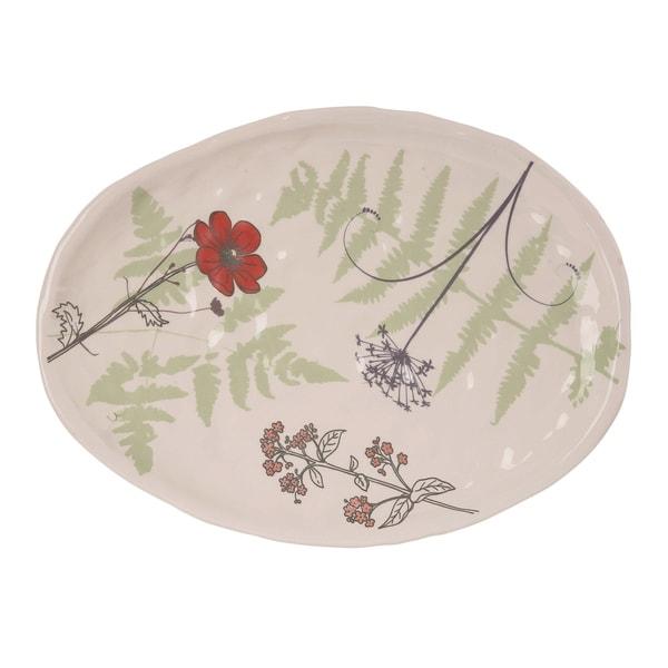 Transpac Dolomite 11 in. Multicolor Spring Floral Garden Print Platter