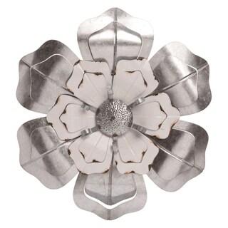 Transpac Metal 20 in. Silver Spring Enamel Accent Flower
