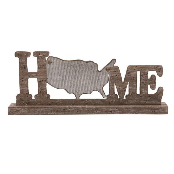 Transpac Wood 24 in. Brown 4th of July Home USA Tabletop Décor