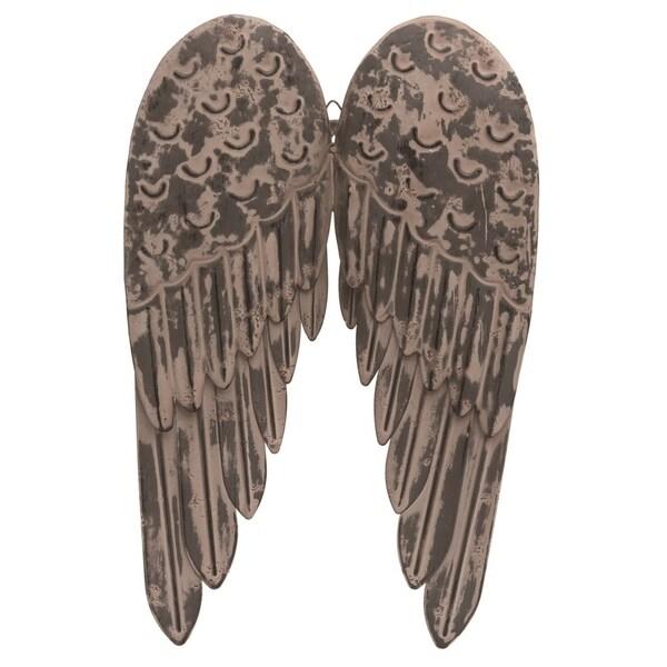 Transpac Metal 18 in. White Spring Angel Wings