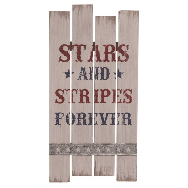 Transpac Wood 19 in. Multicolor 4th of July American Slat Corrugated Sign