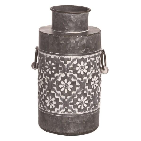 Transpac Metal 16 in. Silver Spring Patterned Vases Set of 2