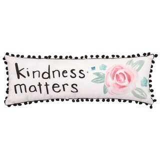 Transpac Fabric 24 in. White Spring Watercolor Kindness Lumbar Pillow with Pom Poms