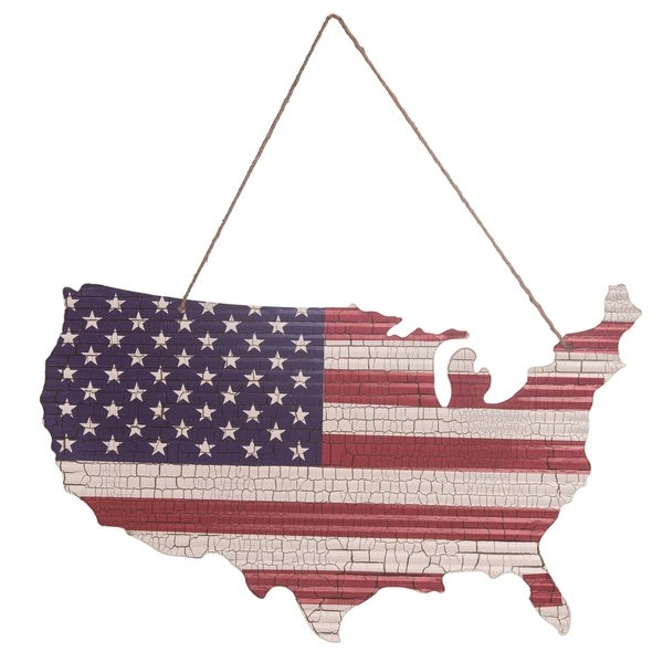 Transpac 28 in. Multicolor 4th of July Americana USA Flag Cutout with Hanger