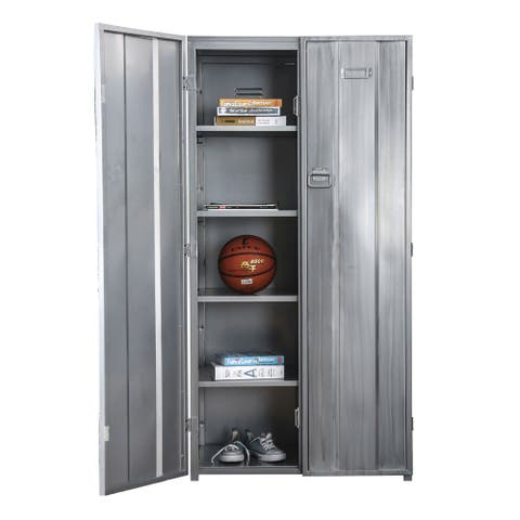 Industrial Metal Frame Large Accent Locker with Hanging Pull Handles, Silver
