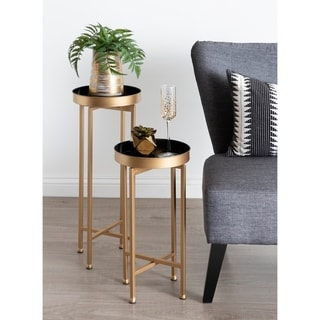 Kate and Laurel Celia Round Metal Foldable Tray Table Set - 2 Piece