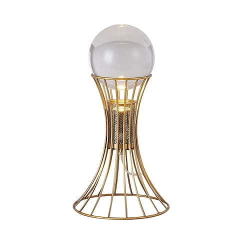 Antique Brass Metal Table Lamp With Crystal Ball