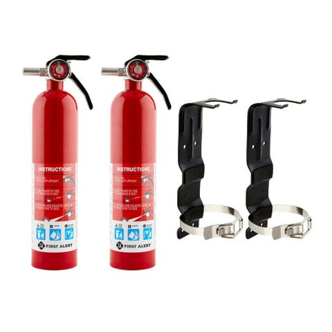 First Alert HOME1 ABC 2.5 Pound Rechargeable Fire Extinguisher-HOME (2 PACK) with 2 Brackets