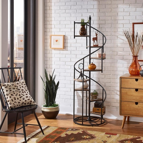 Kendra Black Finish Metal Spiral Staircase Display Shelf by iNSPIRE Q Modern. Opens flyout.