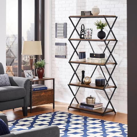 Keenland Matte Black Finish Metal X-Frame Bookcase by iNSPIRE Q Modern