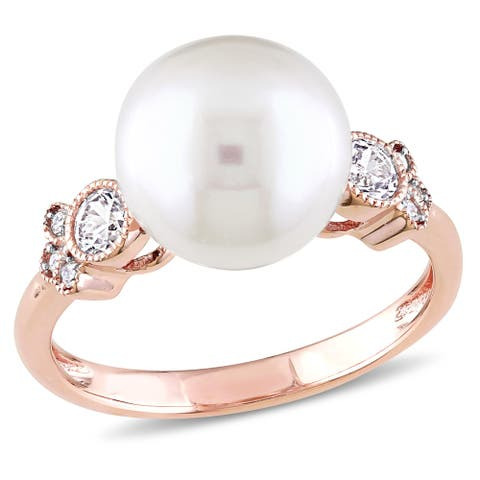 Miadora 10k Rose Gold Cultured FW Pearl, White Sapphire & Diamond Accent Cocktail Ring (9.5-10 mm)