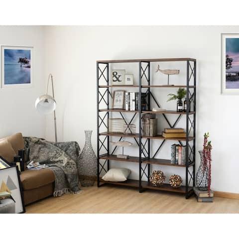 Roanoke Walnut Brown 6 Shelf Double Etagere Bookcase